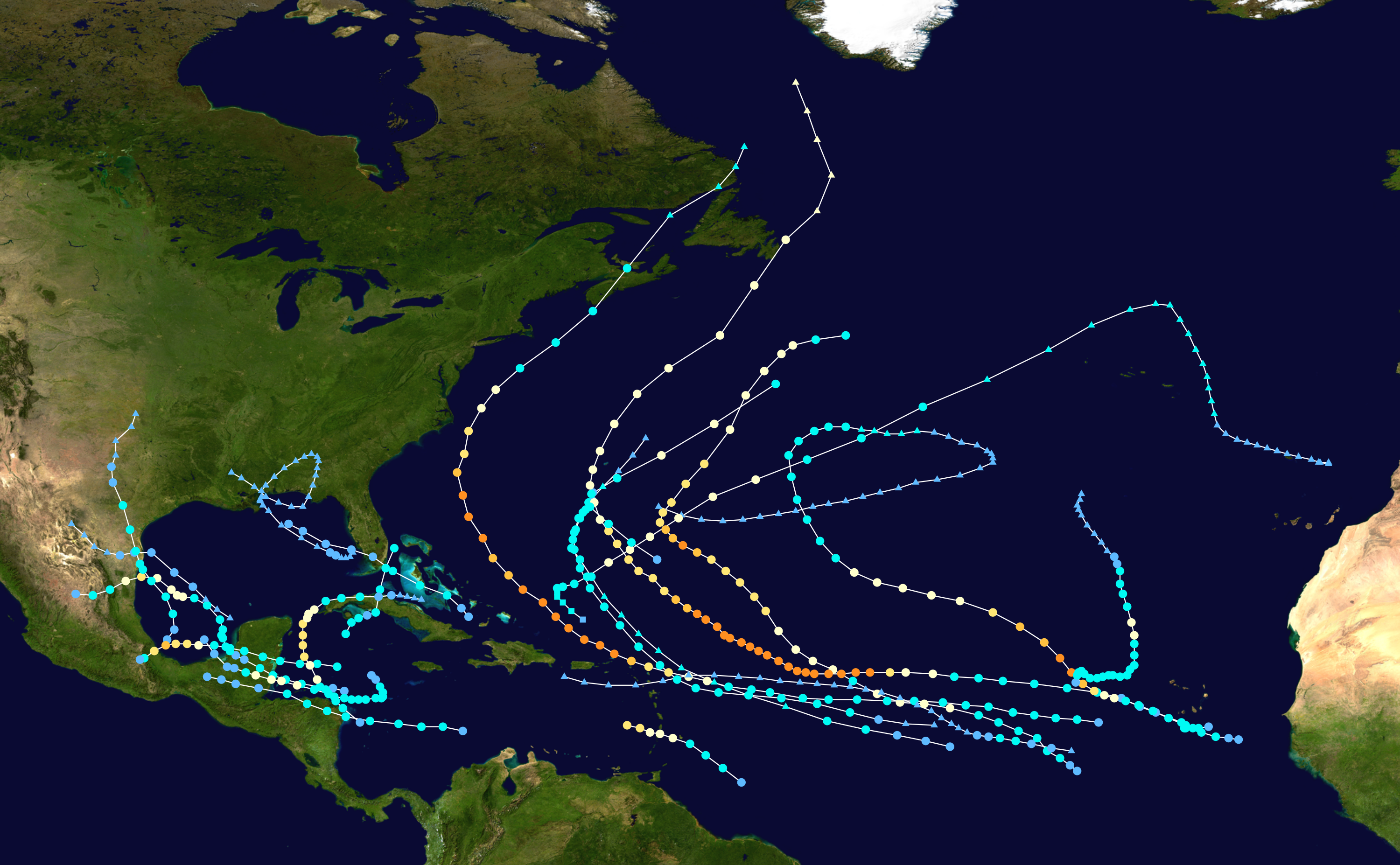 Tracks of 2010 Atlantic Tropical Storms