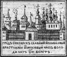 Darstellung der Stadt Sinbirsk aus dem 18. Jahrhundert