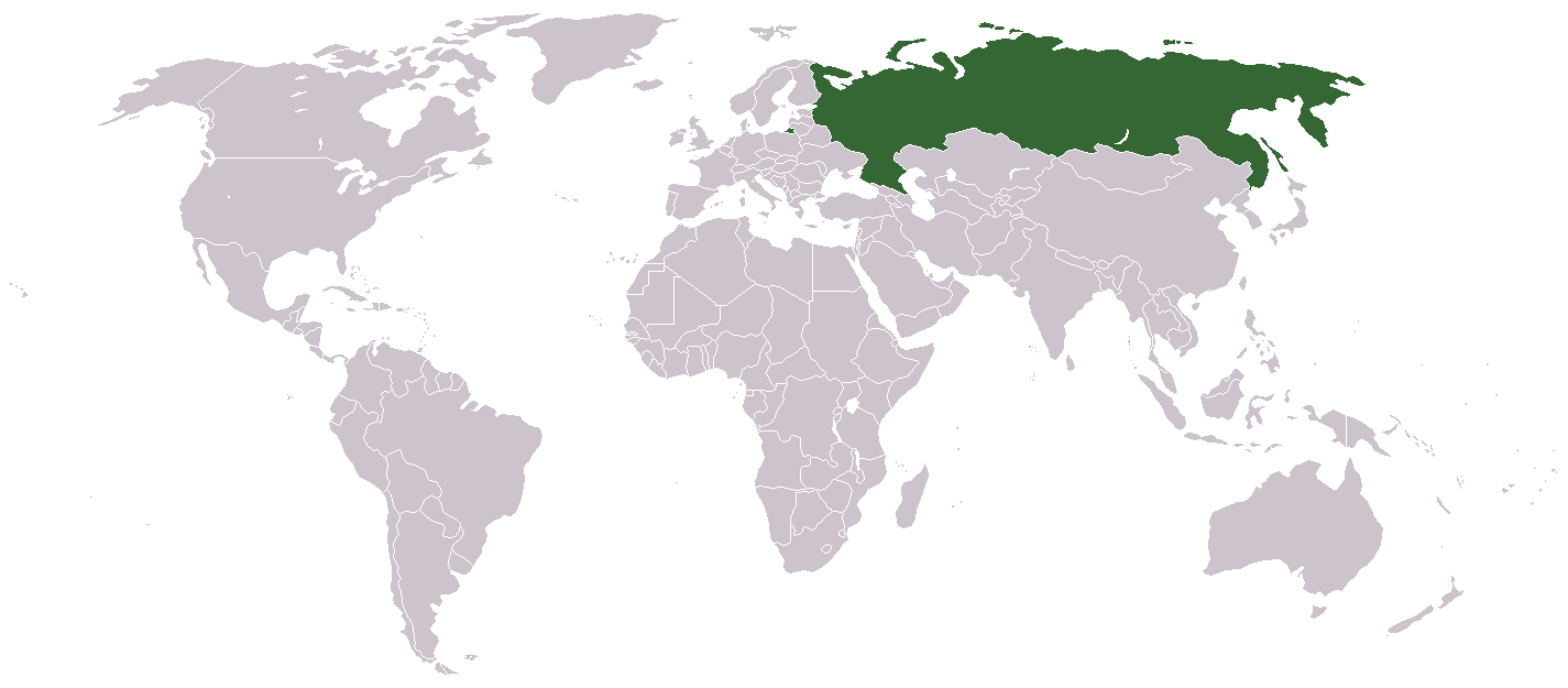 World map with Russia highlighted in green