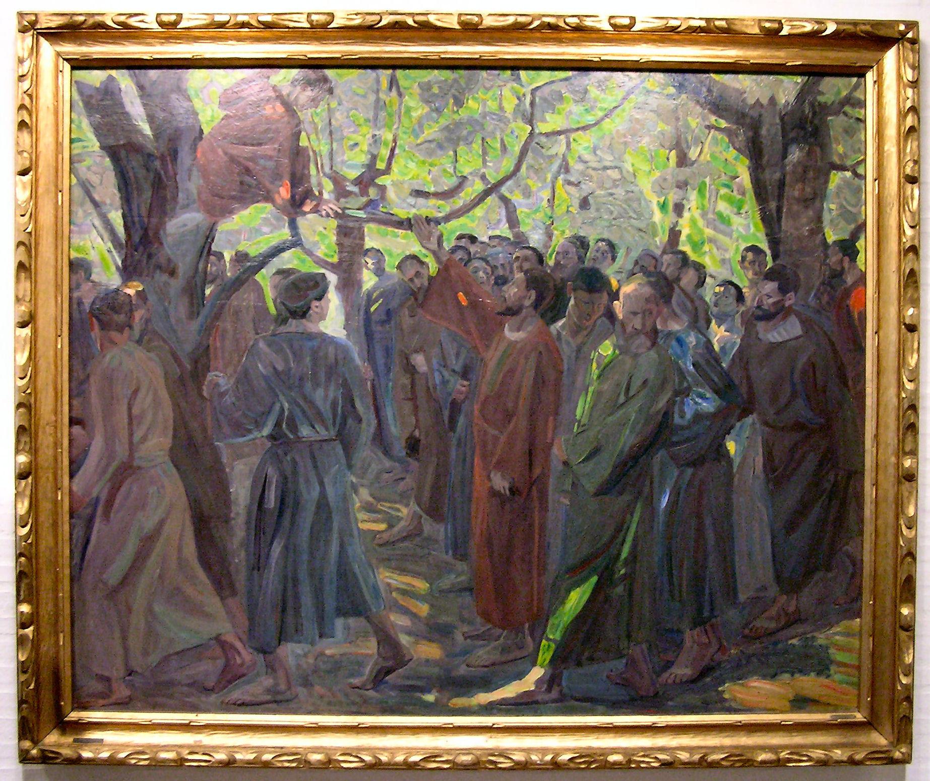 Jésus invite Zachée à descendre du sycomore (œuvre de Niels Larsen Stevns)