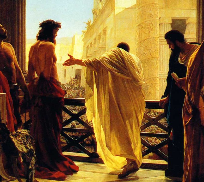 Antonio Ciseri's depiction of Pontius Pilate presenting a scourged Christ to the people Ecce homo! (Behold the man!).