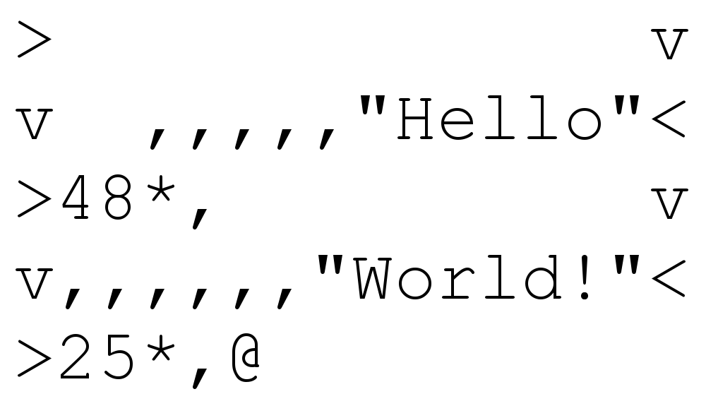 Hello World written in Befunge