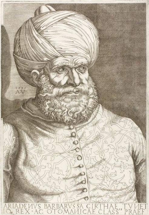 Kahir Ad-Dìn (anche detto Ariadeno Barbarossa o Haradin). Immagine da Wikipedia