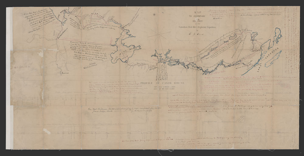 "Titre original :    Description Map to accompany report of the Canadian Red River Expedition by H.Y. Hind. Maclear & Co. Liths., Toronto. Original caption: ""Map shows the various routes leading west from Lake Superior. Bodies of water are coloured, and detailed and extensive manuscript notes appear on the map. One of the notes states that the old H.B.C. Fort William route was abandoned in 1861. Henry Youle Hind was a geologist with the 1857 Red River expedition for the Canadian Government. The Collection has many other maps by Hind dated 1858."" Date 1858 Source http://collectionscanada.gc.ca/pam_archives/index.php?fuseaction=genitem.displayItem&lang=eng&rec_nbr=4149043&rec_nbr_list=2835806,4125151,3246873,4203133,4149043,3393091,4203121,4323850,2059508 Author Henry Youle Hind Permission (Reusing this file) Public domainPublic domainfalsefalse This Canadian work is in the public domain in Canada bec"