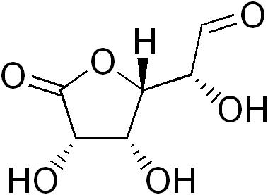 Représentation d'une molécule de Glucuronolactone C6H8O6