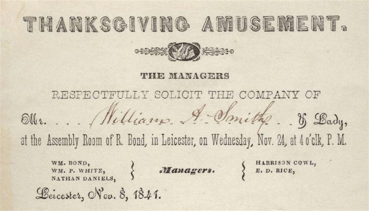 1841 Thanksgiving Leicester Massachusetts