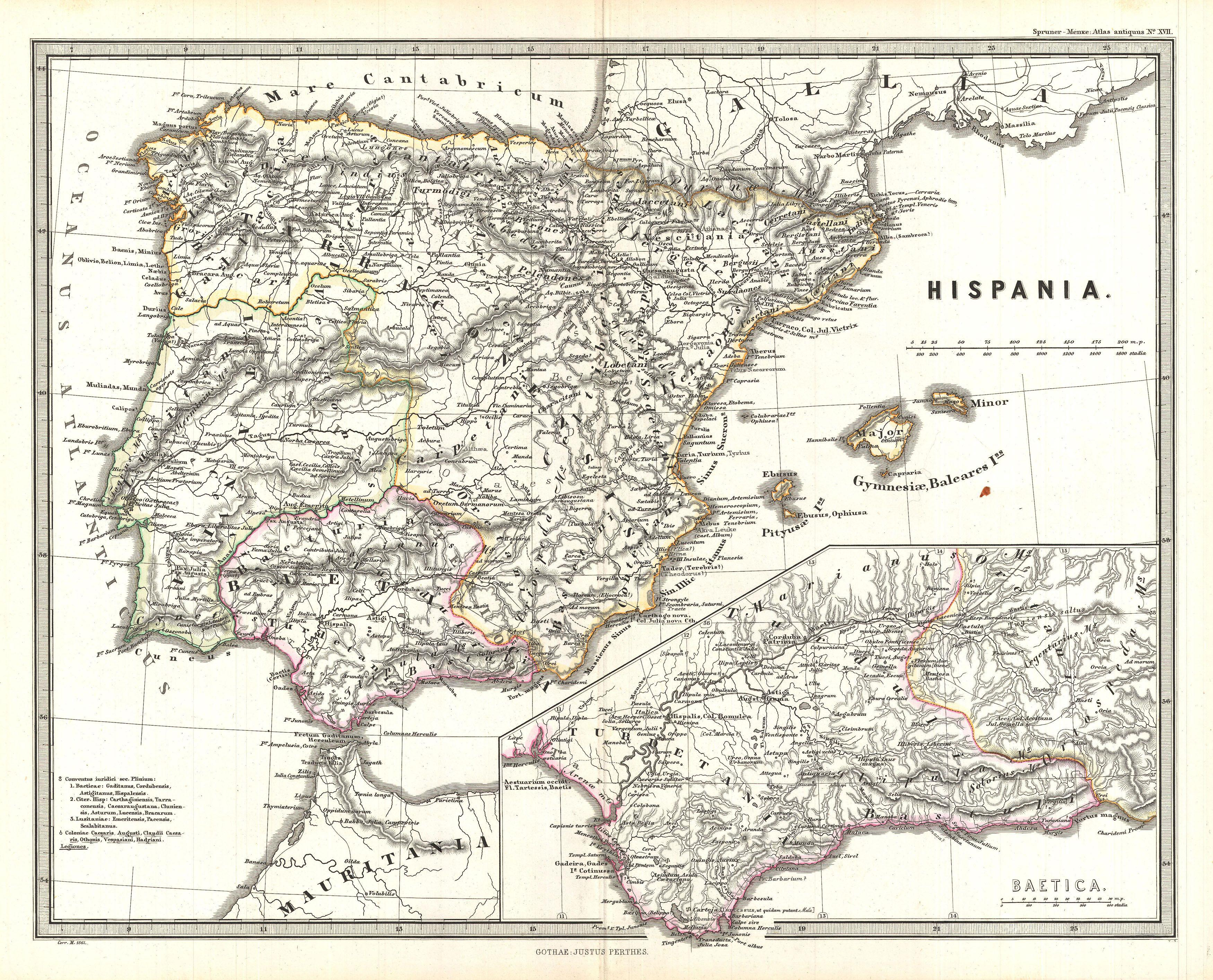 File 1865 Spruner Map Of Spain And Portugal Geographicus