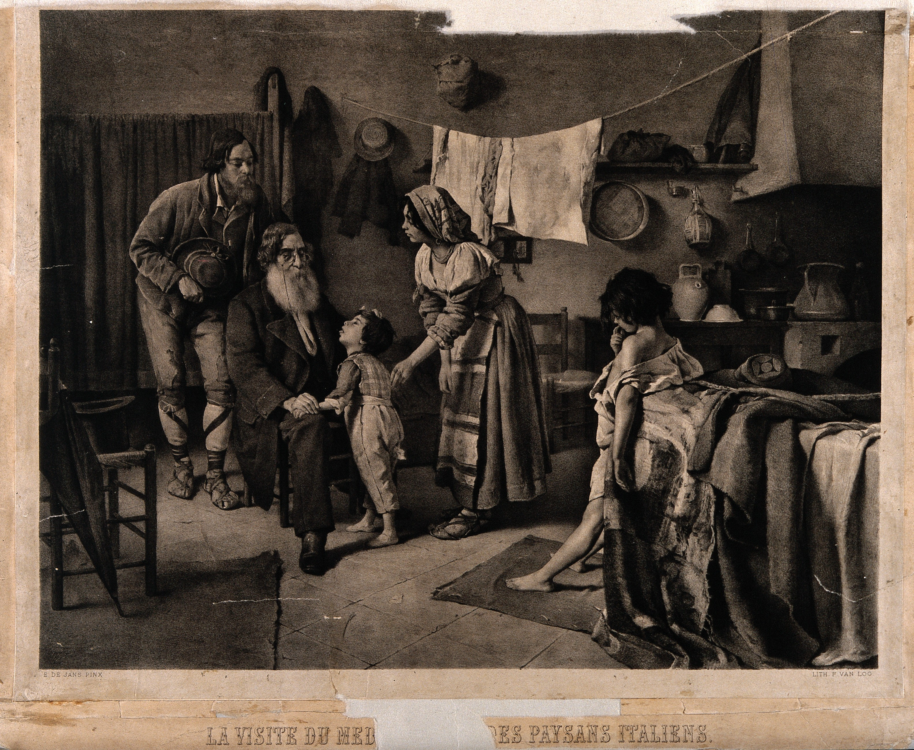 File:A physician examining the children of a poor Italian family
