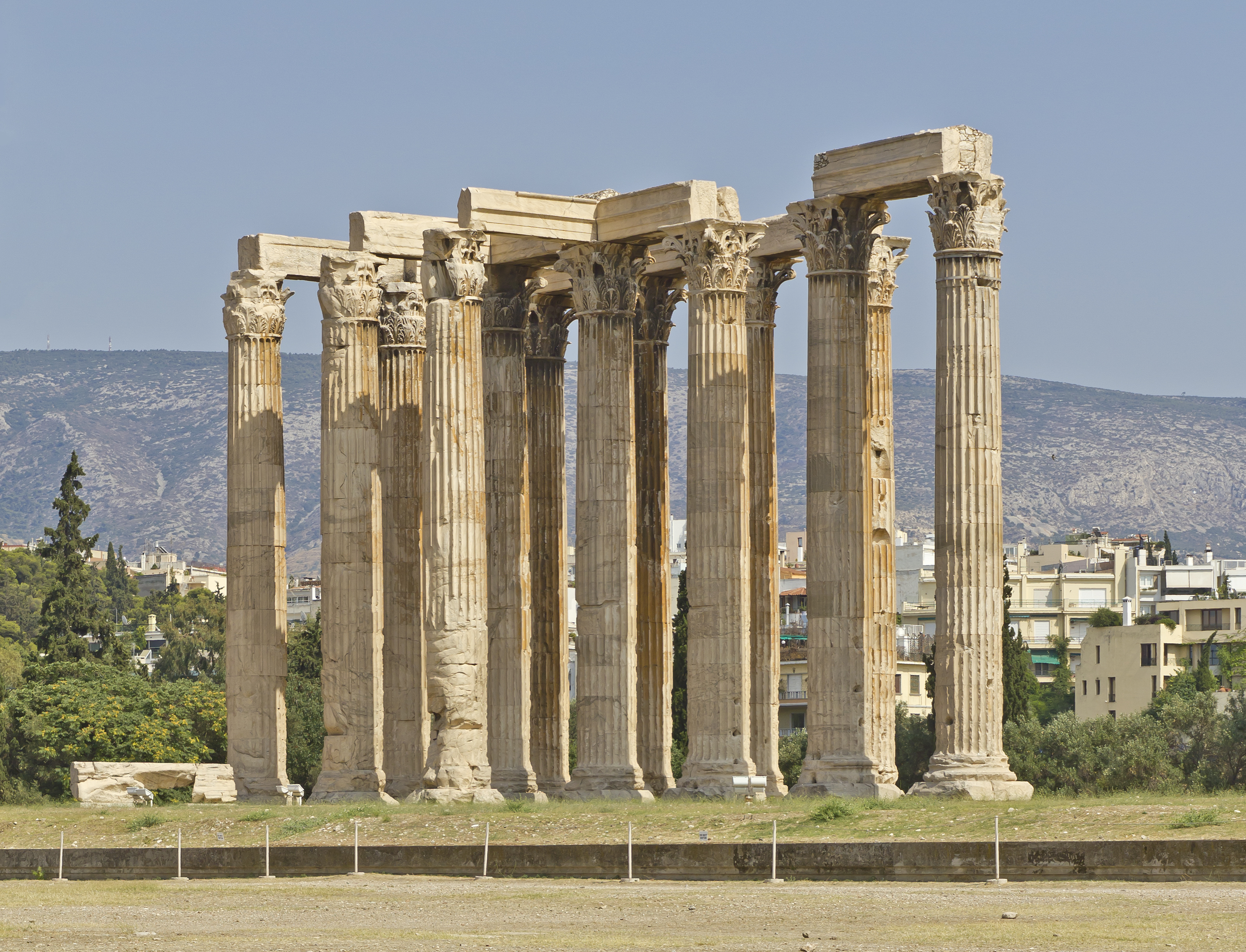 The Monumental Temple Of Olympian Zeus In Athens