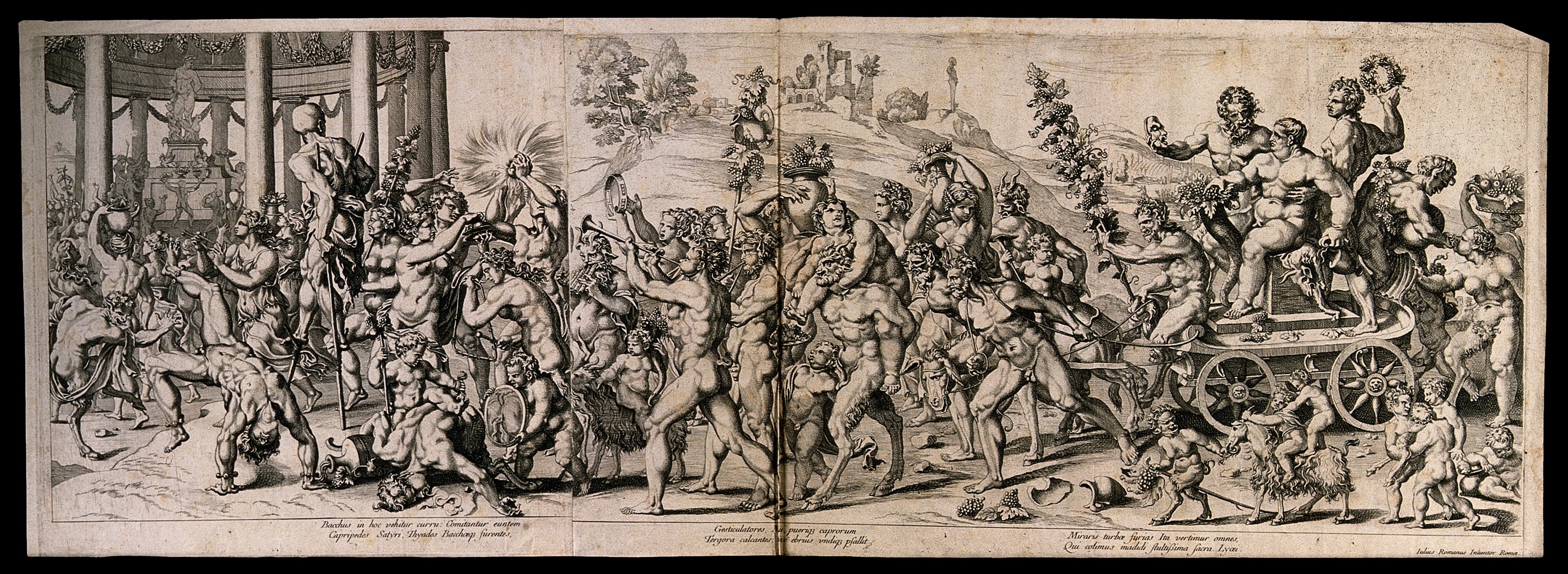 Filebacchus On A Chariot Preceded By A Drunken Procession Of Nud Wellcome V0019441