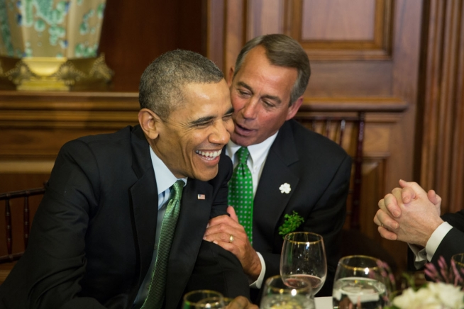 Barack Obama and John Boehner enjoying Saint Patrick%27s Day 2014.jpg
