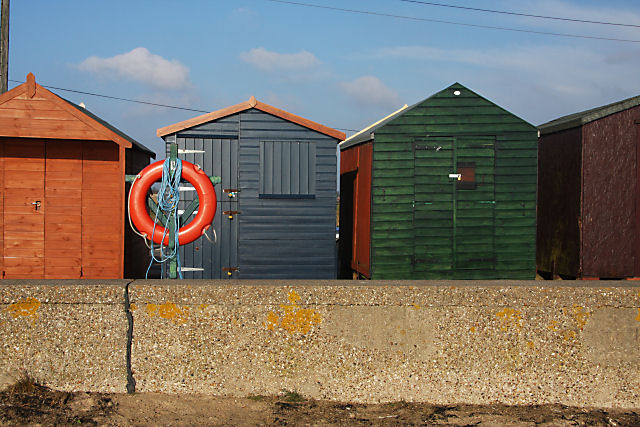 Beach huts and lifebelt, Brightlingsea - geograph.org.uk - 1141640.jpg