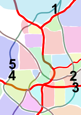 Map showing BeltLine and connected neighborhoods