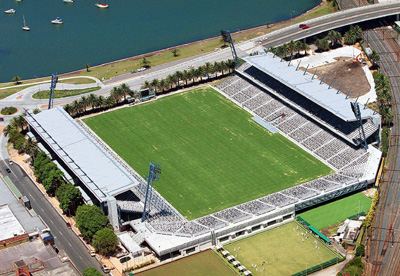 Central Coast Stadium in Gosford, New South Wales, is the current home of the Central Coast Mariners. Bluetongue CC Stadium.jpg
