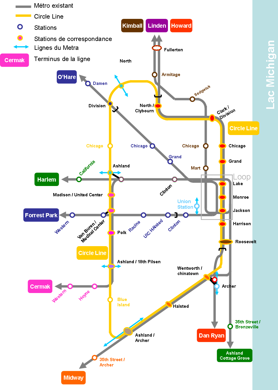 Yellow Line Chicago Map