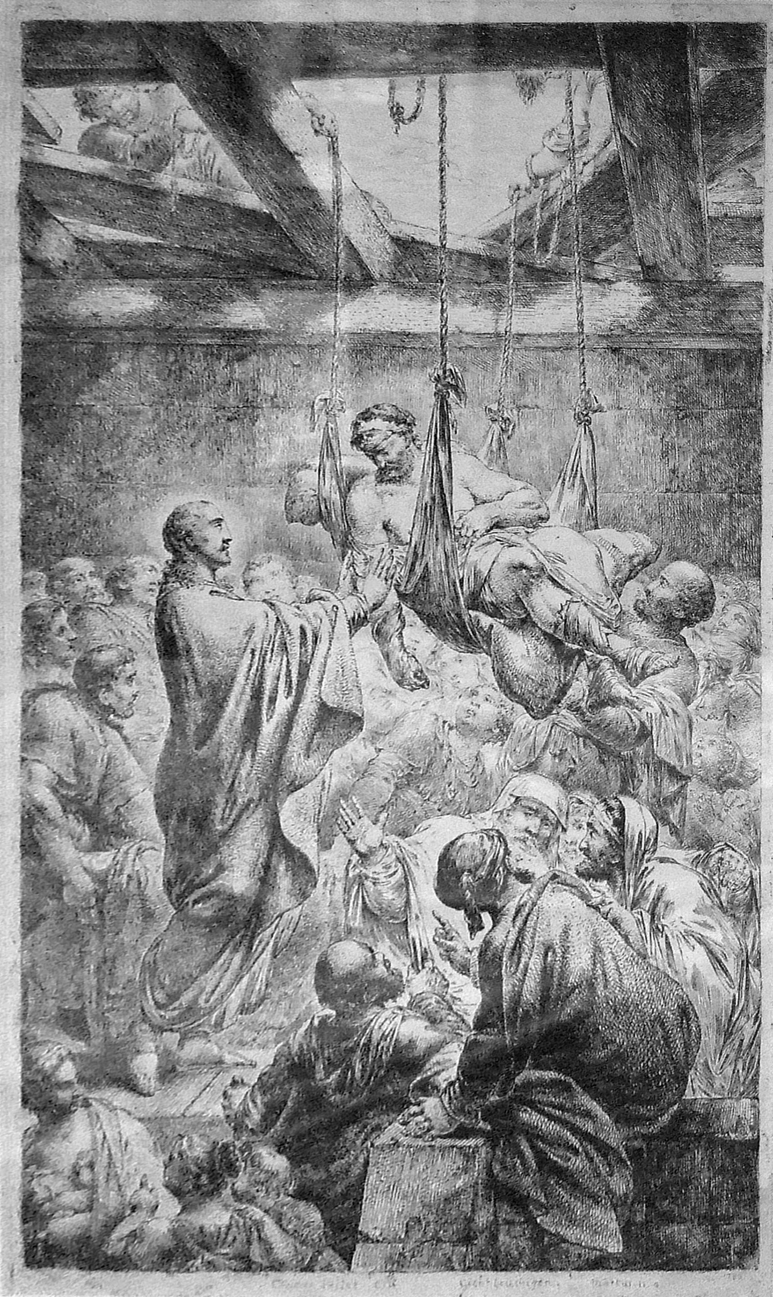 Engraving of Jesus healing paralyzed man