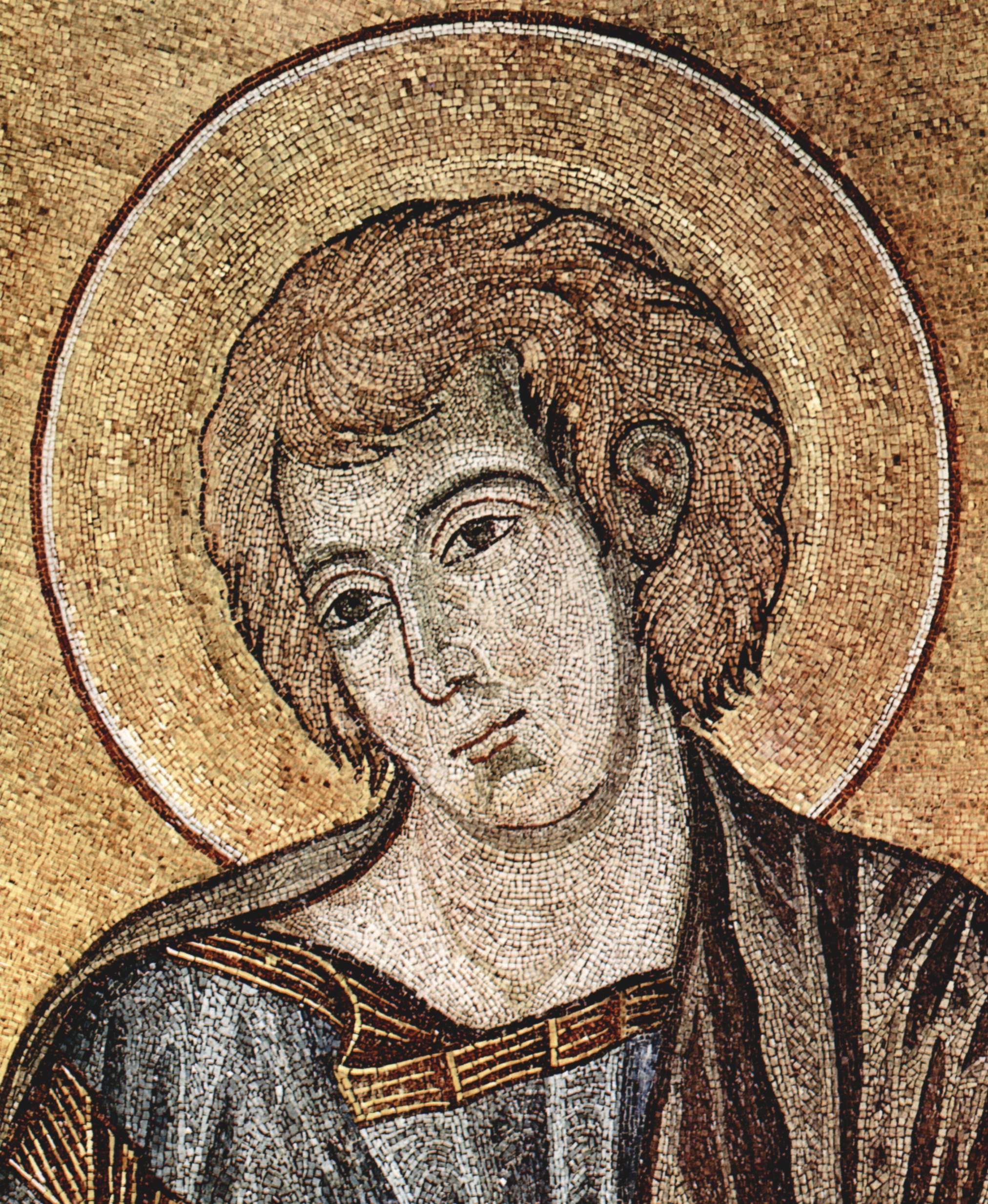 CIMABUE Christ Enthroned between the Virgin and St John the Evangelist (detail) 1301-02