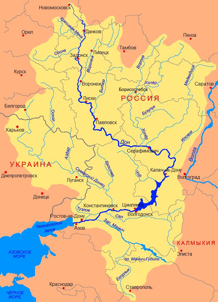 Где находится река дон её истоки
