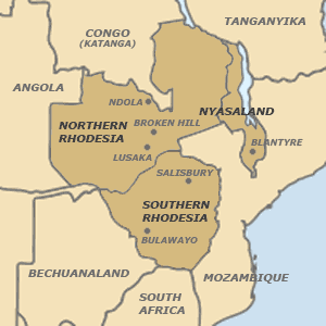 Map of the Federation of Rhodesia and Nyasaland