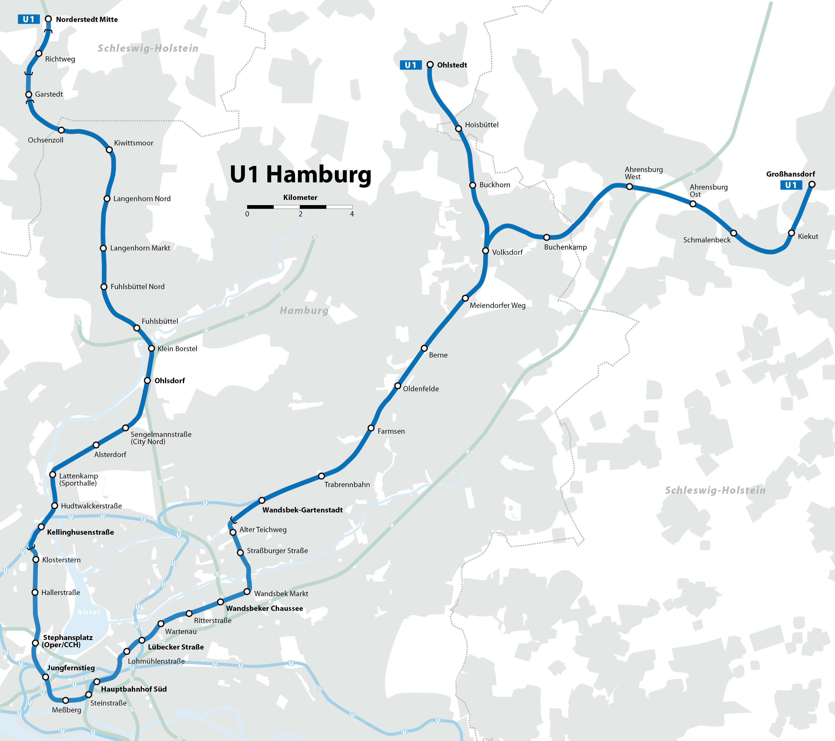 Hamburg Subway Map.U1 Hamburg U Bahn Wikipedia
