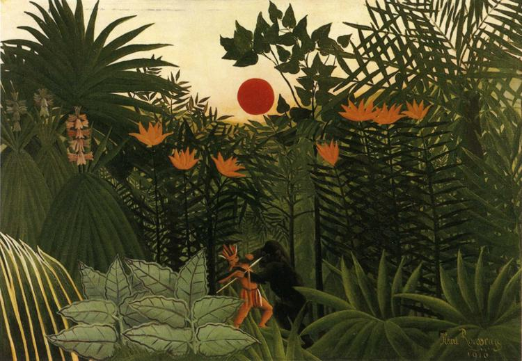 Henri Rousseau - Tropical Landscape - American Indian Struggling with a Gorilla