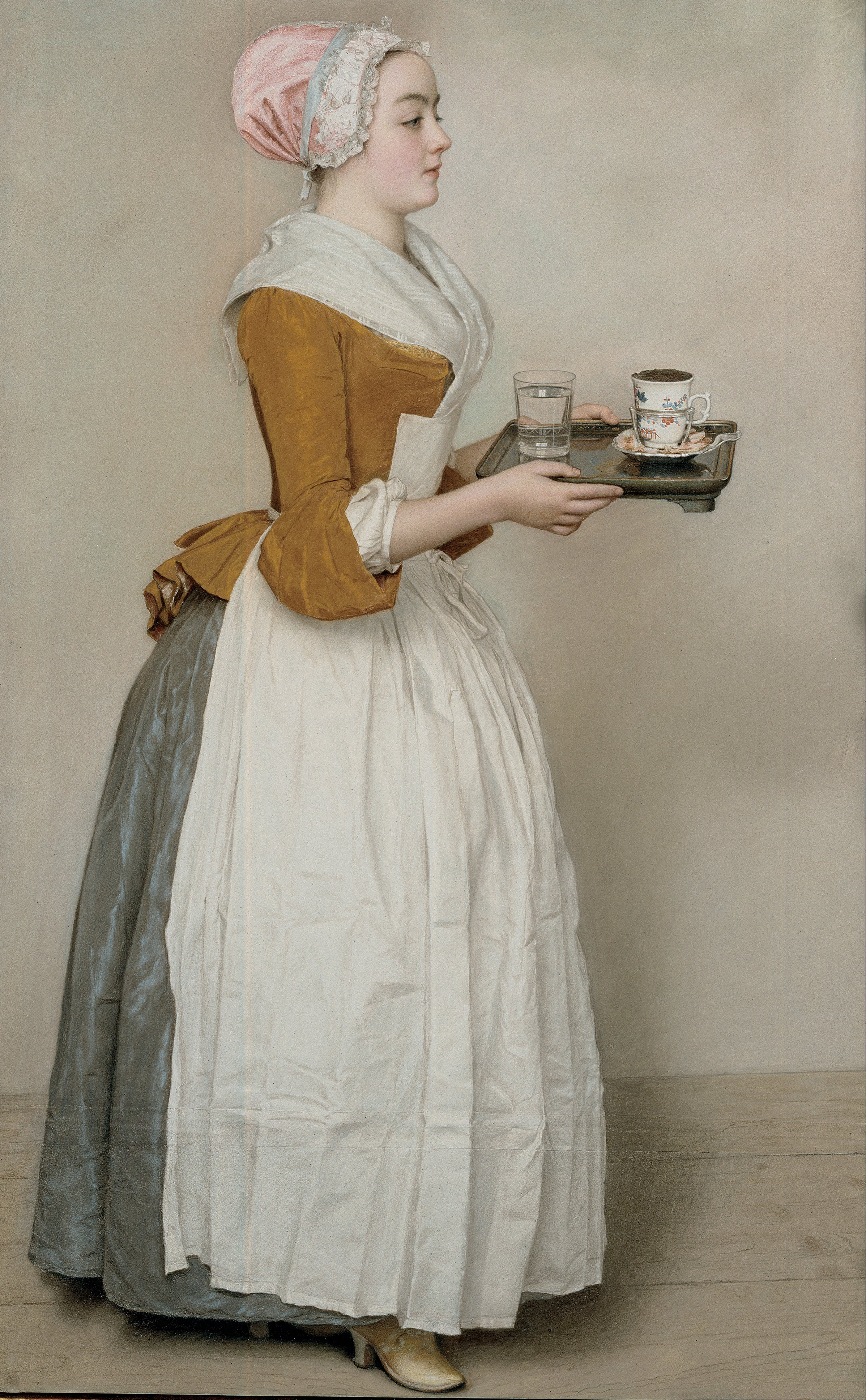 Pastel on parchment of a carrying a tray with a glass of water and cocoa
