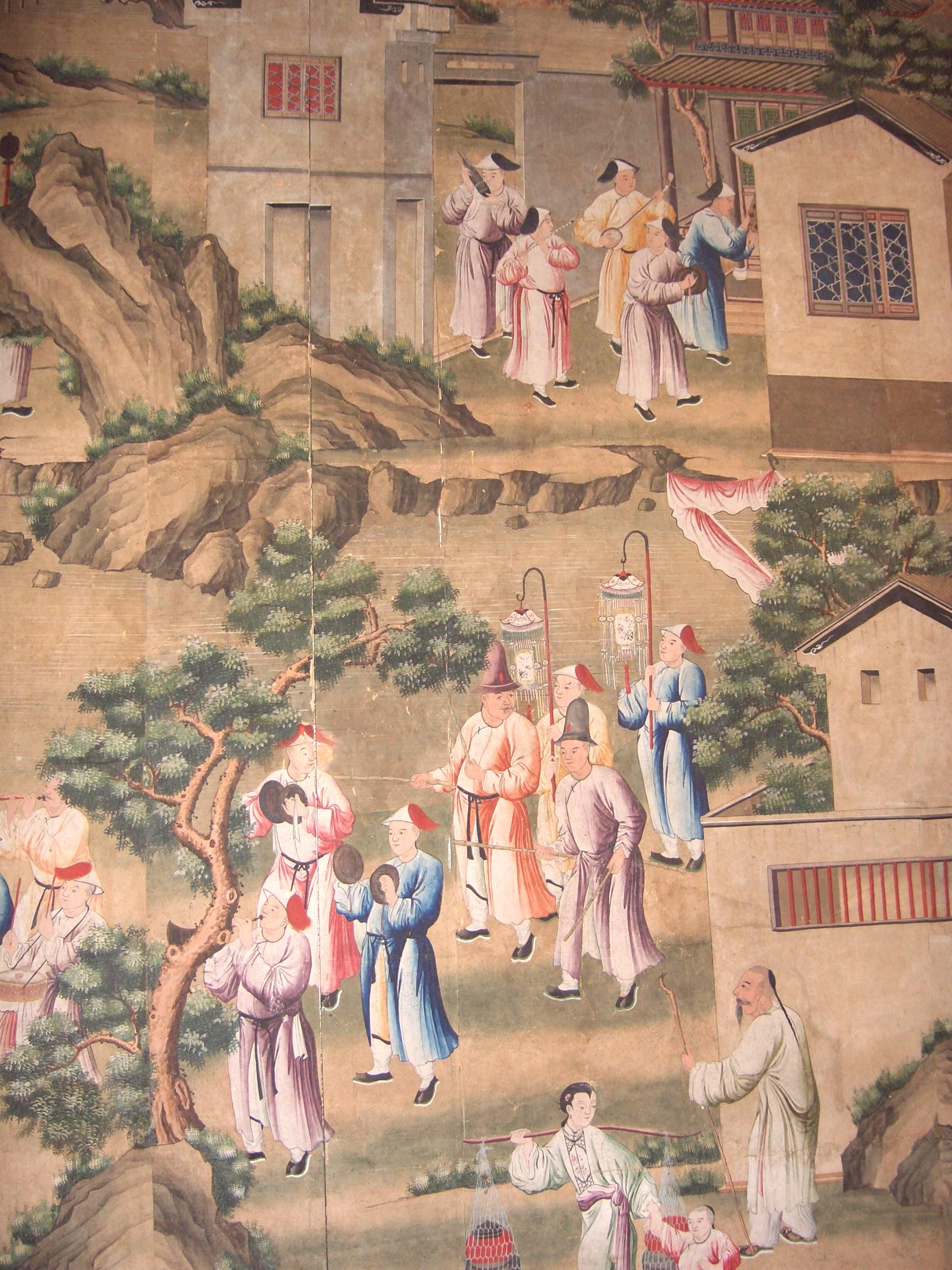 Chinese Wallpaper showing a funeral procession. Qianlong period, approx.