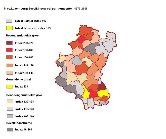 Evolutie van de bevolking per gemeente prov. Luxemburg periode 1970 tot 2016