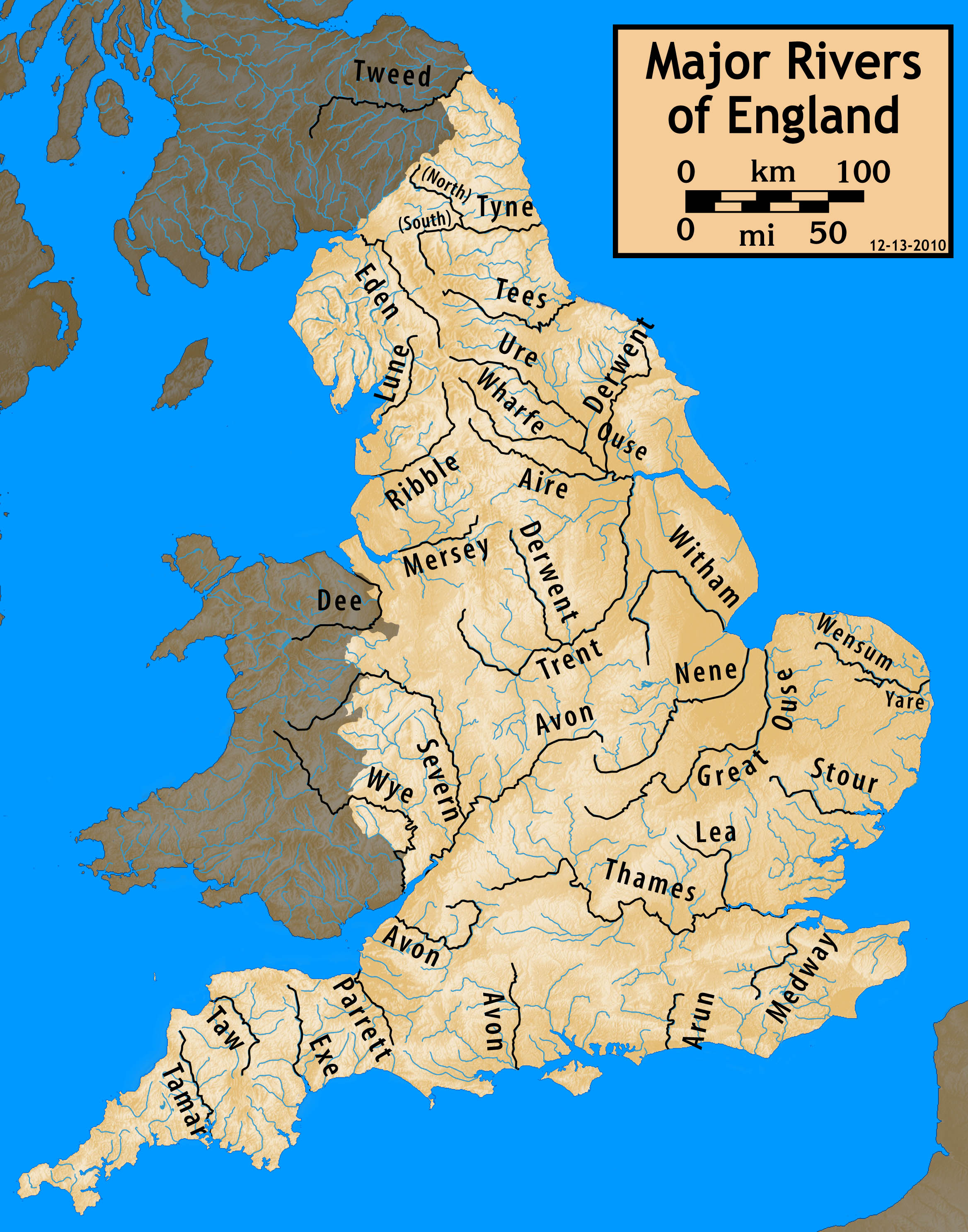 Uk Rivers Map List of rivers of England   Wikipedia Uk Rivers Map