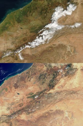 Seasons in North Africa: Atlas Mountains in January and April Marocco Mountains January April.jpg