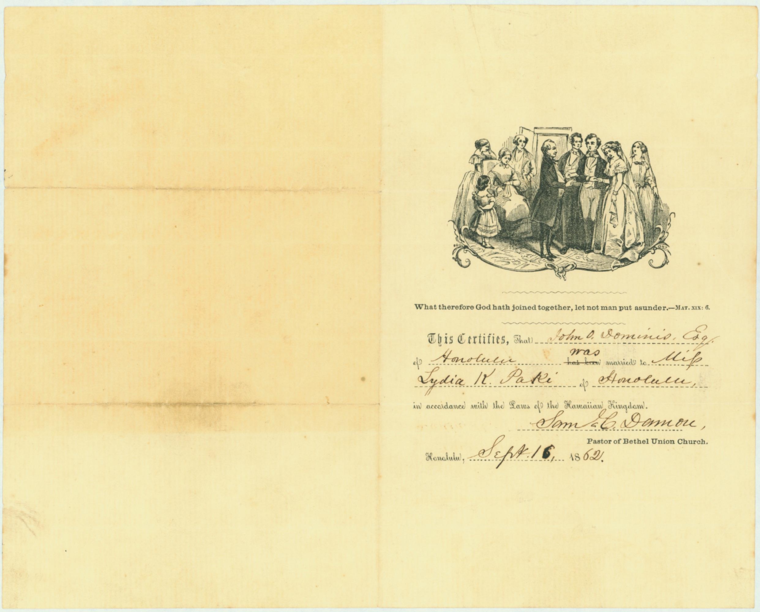 File:Marriage Certificate of John Owen Dominis and Lydia K. Paki.jpg ...