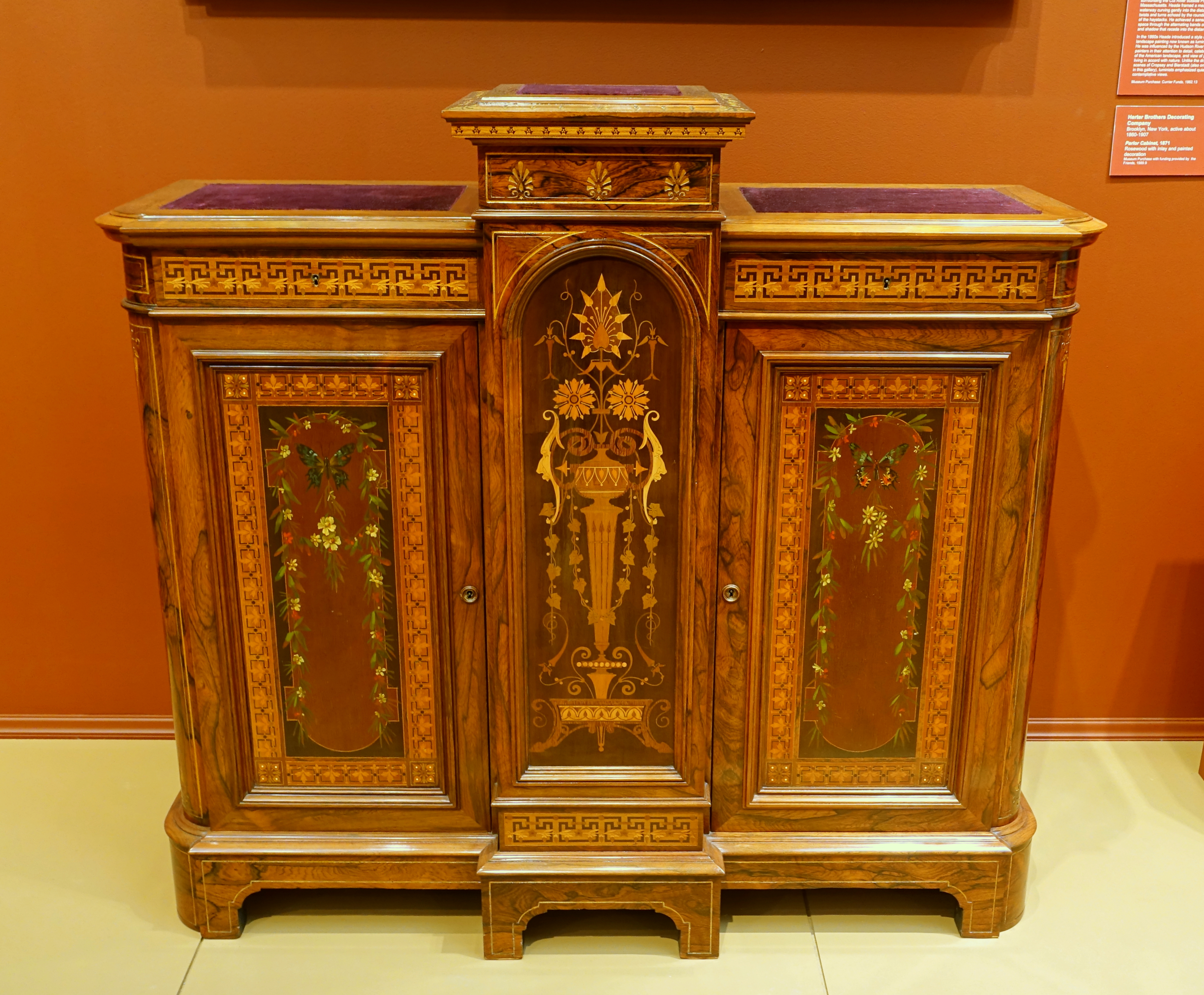 File:Parlor Cabinet, Herter Brothers Decorating Company, 1871, Rosewood  With Inlay And
