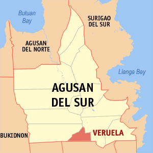 Map of Agusan del Sur showing the location of Veruela