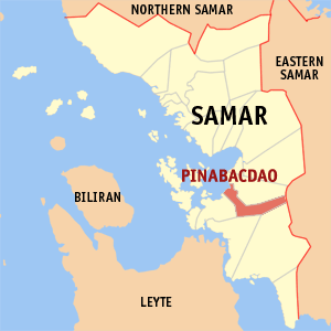 Map of Samar showing the location of Pinabacdao