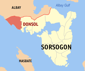 Map of Sorsogon showing the location of Donsol