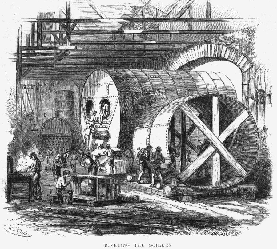File:Rivetting the boilers - Novelty Iron Works.jpg - Wikimedia Commons