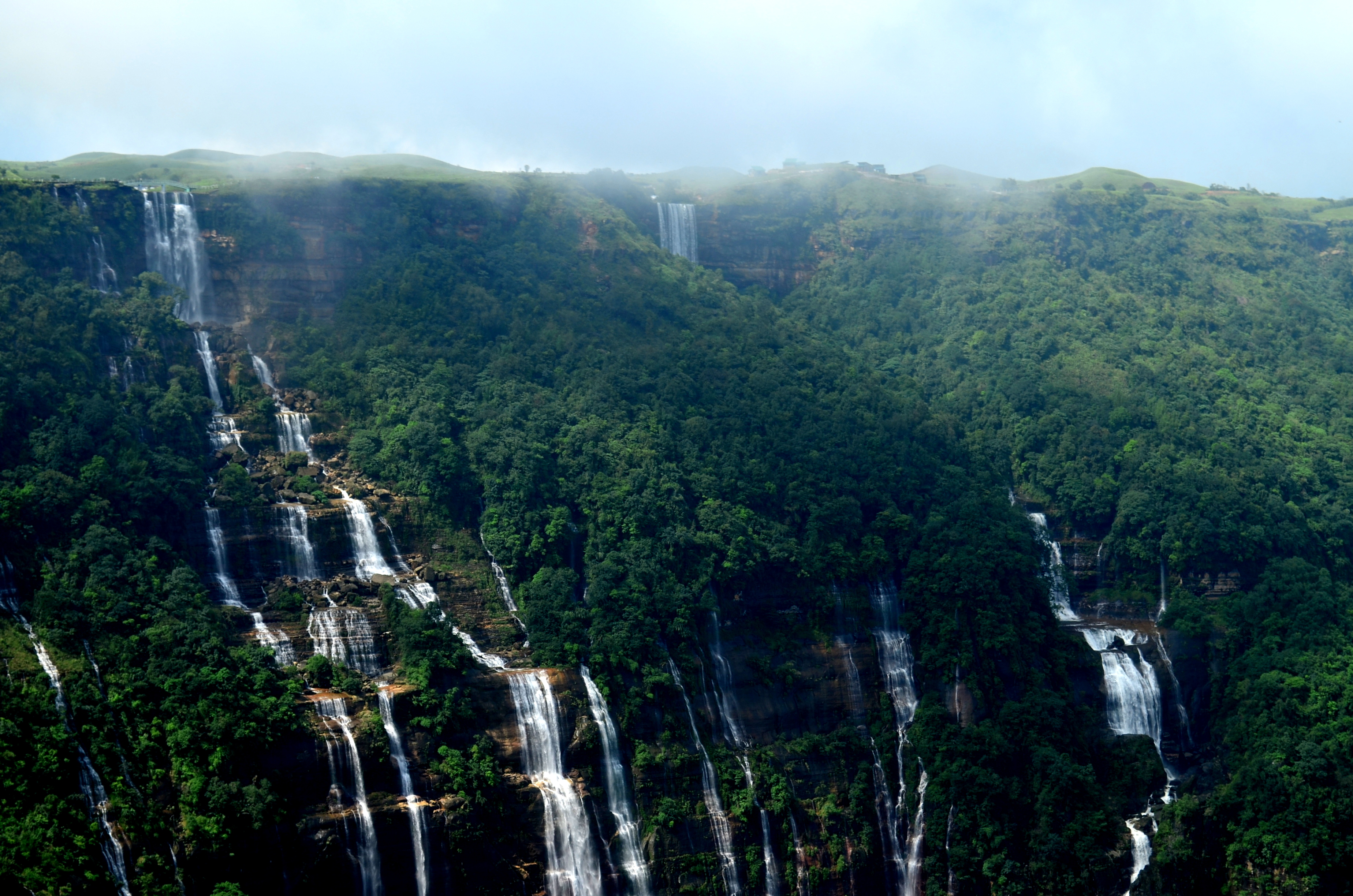 Nohsngithiang or Seven Sister Falls, one of the highest waterfall in India.