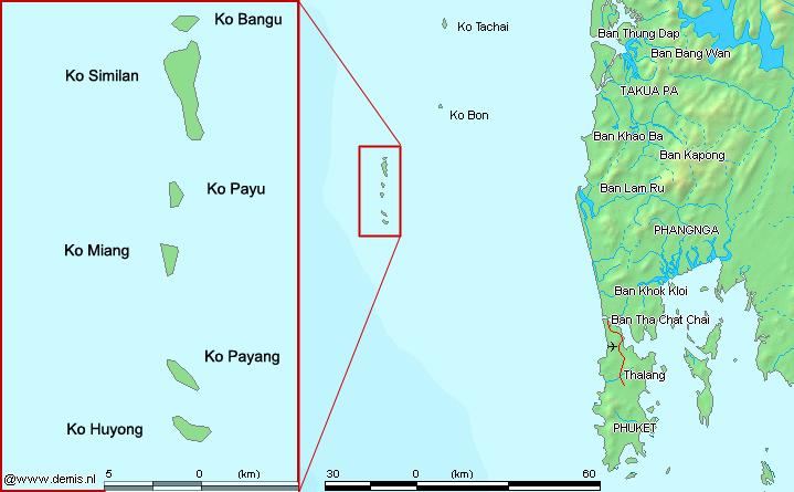 Karte der Similan Inseln