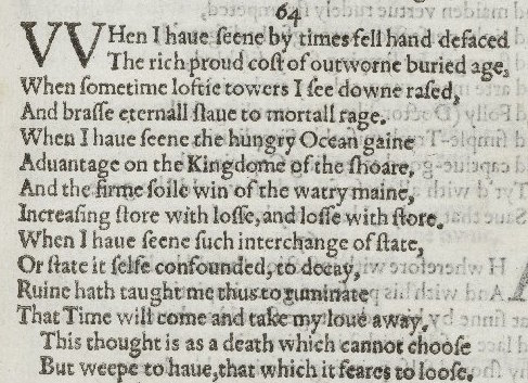 amoretti sonnet 64 Sonnet 79, edmund spenser sonnet 79  about the sonnet sequence of sonnets called amoretti , (little love poems or little cupids) , published in 1595.