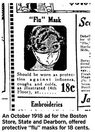 graphic illustration in newspaper of face mask for sale