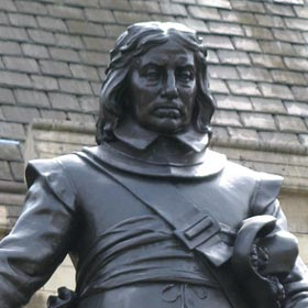 The statue of Oliver Cromwell, as it stands outside the House of Commons at the Palace of Westminster. Statue of Oliver Cromwell 280 tcm4-569959.jpg