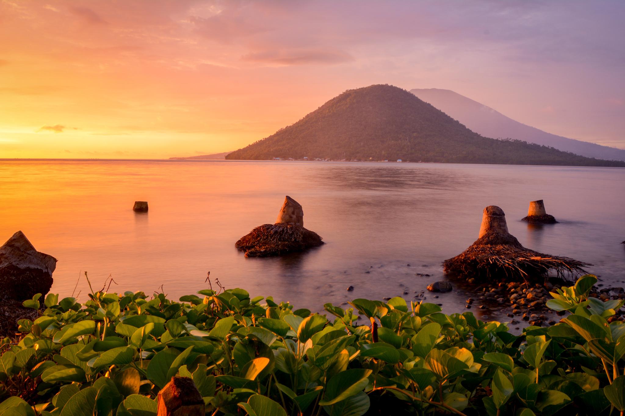 Ternate sunset mountain and water