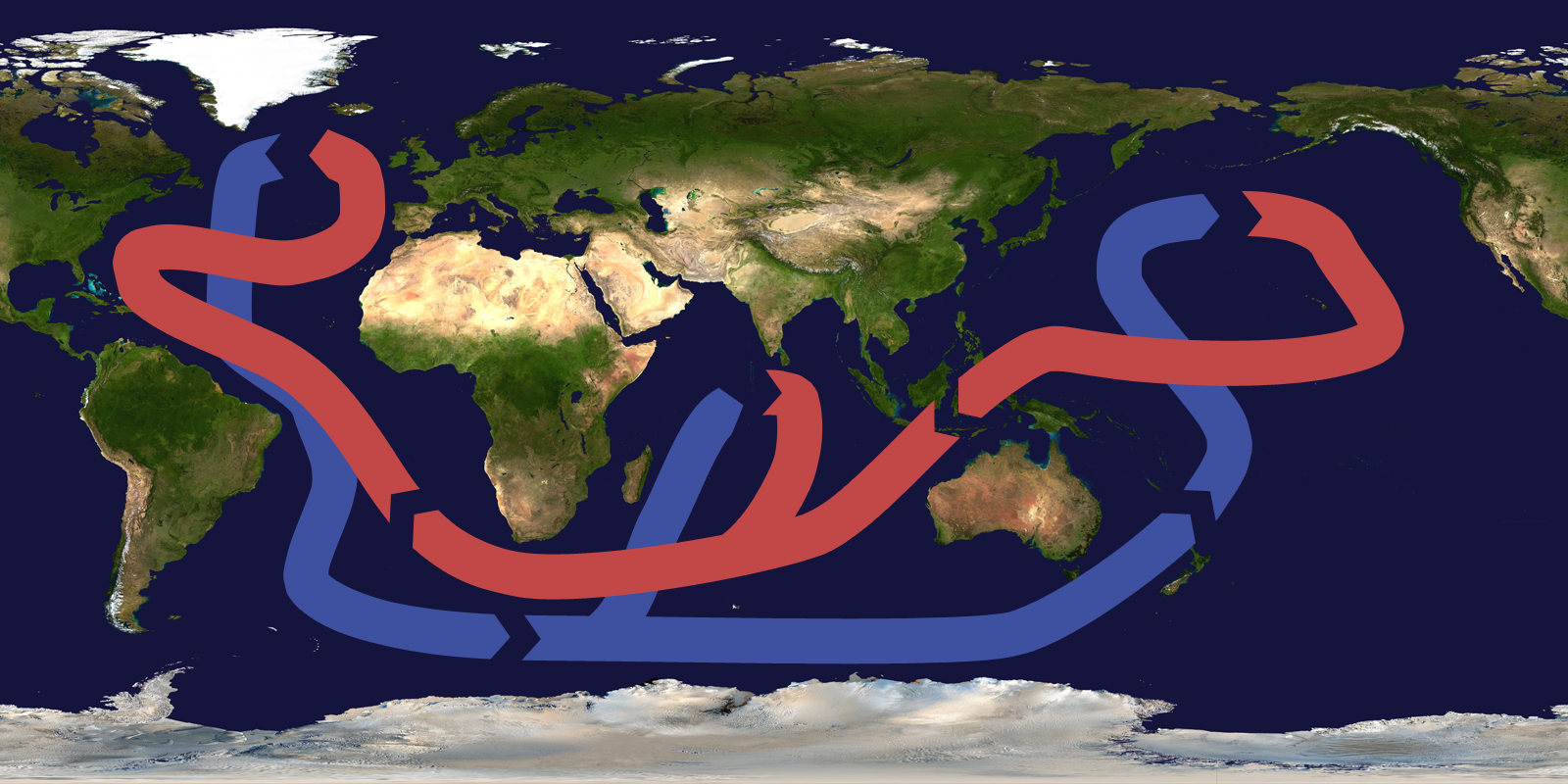 Oceanic circulation climateprediction map of the world showing the global thermohaline circulation from wikimedia commons gumiabroncs Images