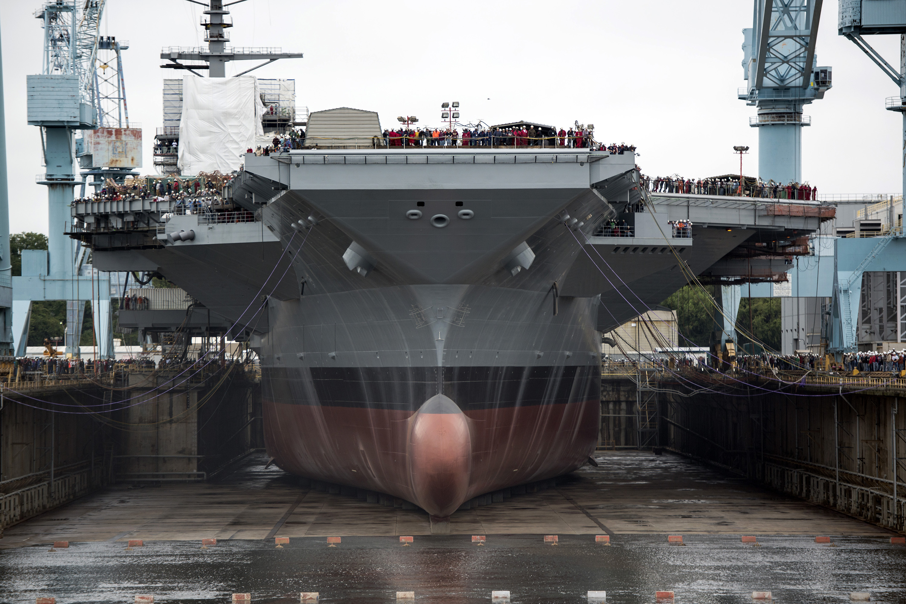 description uss gerald r ford cvn 78 in dry dock front view 2013. Cars Review. Best American Auto & Cars Review