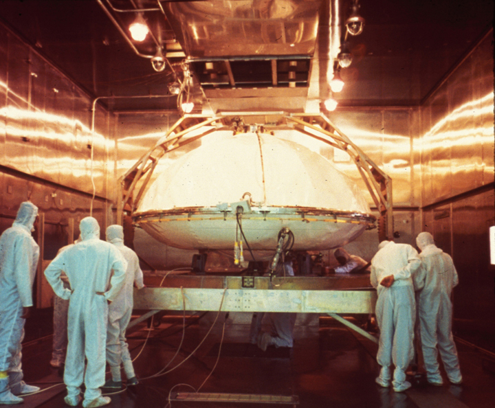 "One of the Viking landers being prepared for dry heat sterilization, still considered the ""Gold Standard"" of planetary protection (NASA)"
