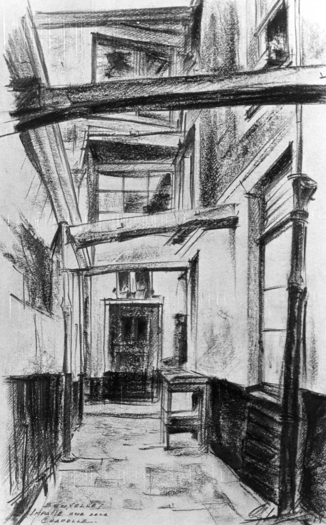 Fichier:1939 Impasse rue de la Chapelle, dessin par Léon van Dievoet ...