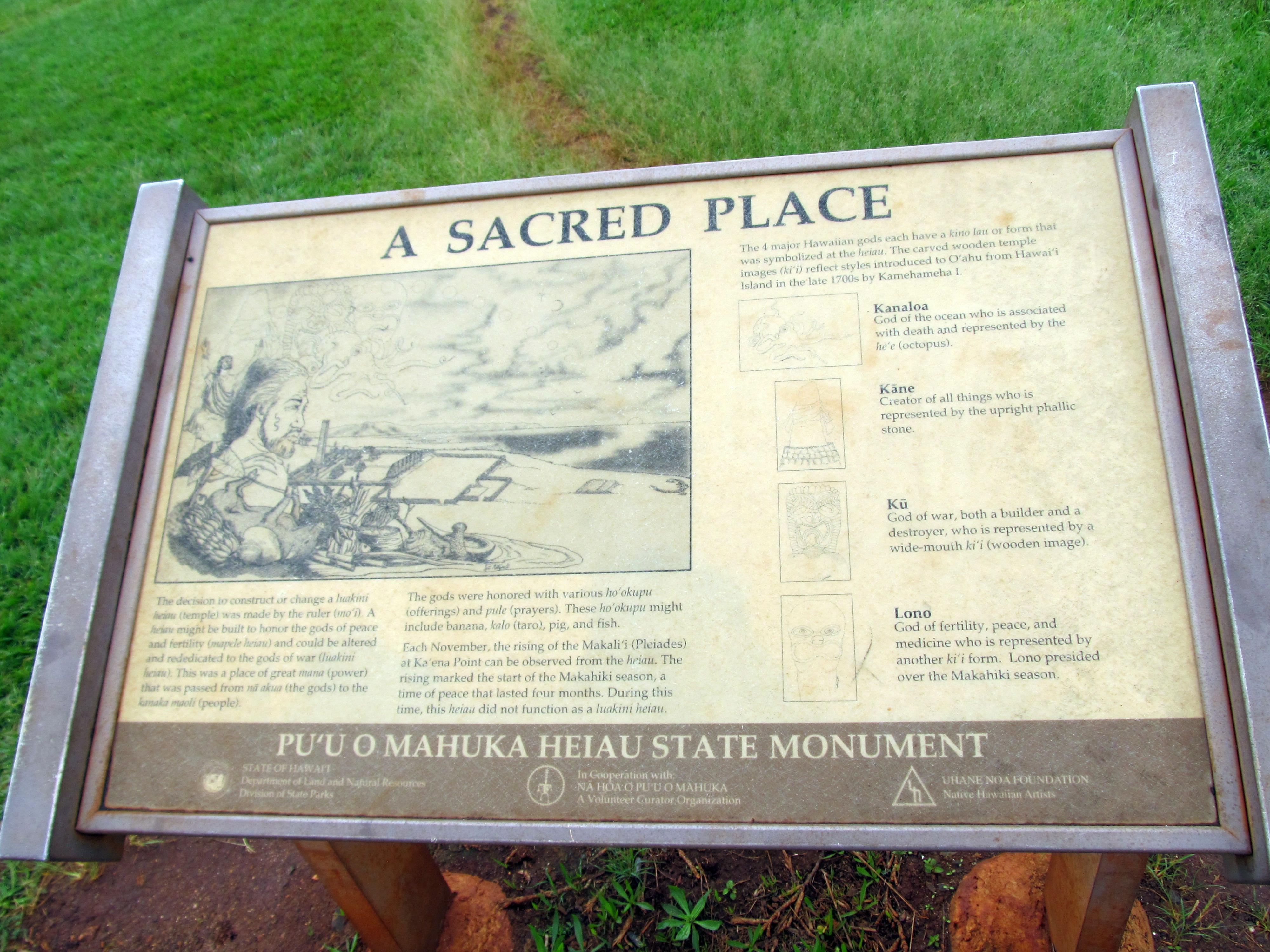 File:A Sacred Place, Sign at Puʻu o Mahuka Heiau State