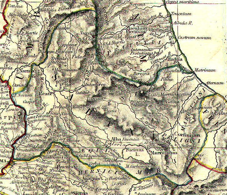 Mappa della Sabinia