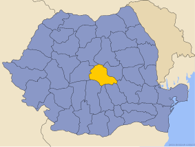 Administrative map of Руминия with Брашов county highlighted