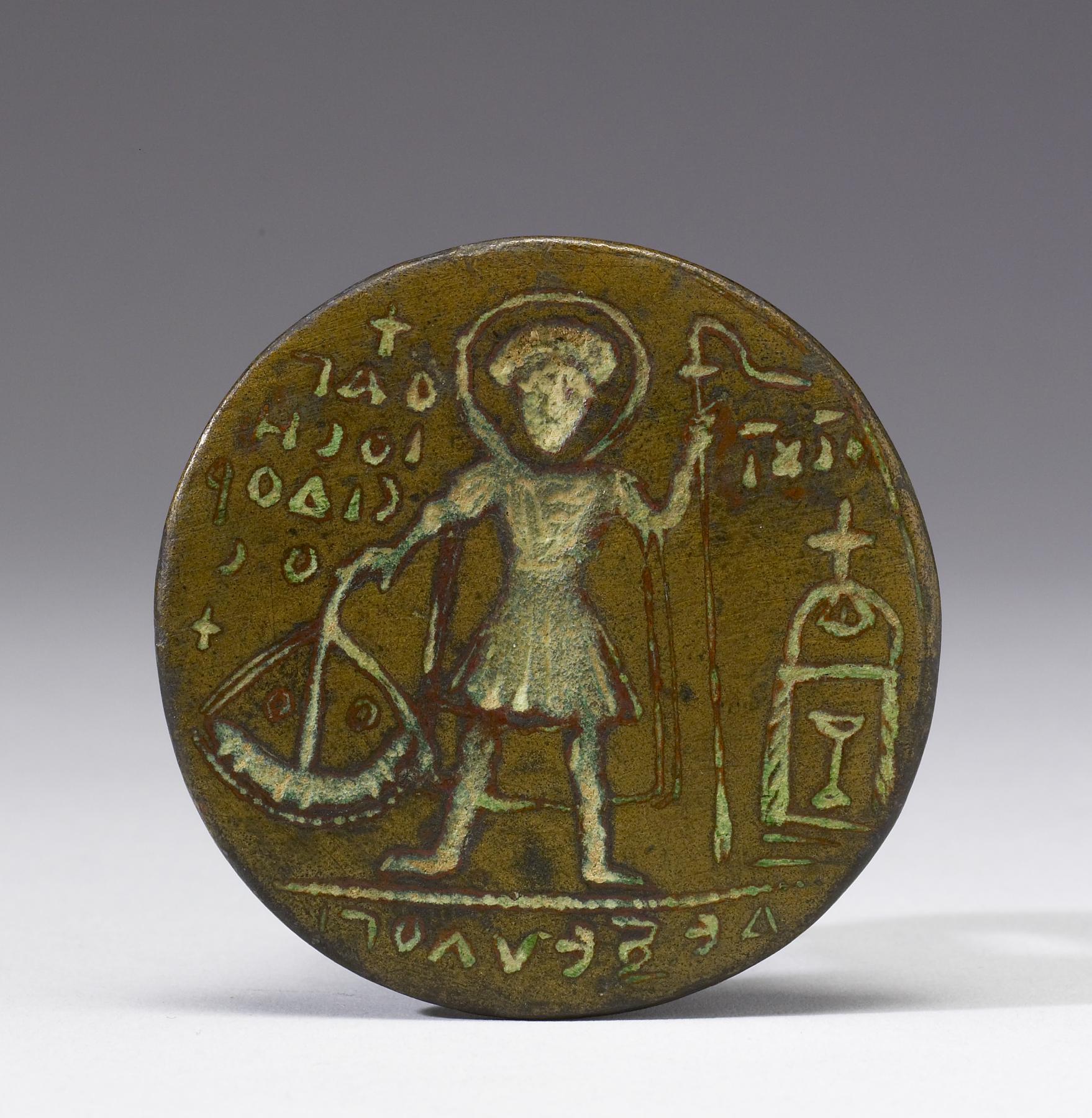 Den hellige Isidor, bysantinsk pilegrimsstempel i messing (500-t), The Walters Art Museum i Baltimore i Maryland i USA